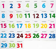 Colorful calender dates Royalty Free Stock Images