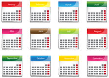 Colorful calender icon collection set (vector) Stock Photos