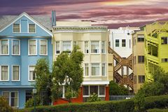 Colorful California Homes Stock Image