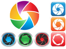 Colorful Camera shutter aperture symbol. Isolated colorful Camera shutter aperture symbol buttons icons on white background Royalty Free Stock Images