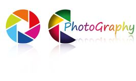 Colorful CameraLens Apertures And Abstract Logo Stock Images