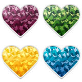 Colorful Camouflage Hearts. Set of Colorful Camouflage Army Hearts Stock Images