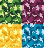 Colorful Camouflage Seamless Patterns vector illustration