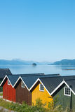 Colorful camping cabins on the fjord shore. Norway Stock Photography