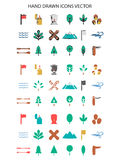 Colorful Camping icon set hand drawn  illustration. On white background Royalty Free Stock Image