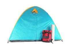 Colorful camping tent, backpack and mat. On white background Stock Photo