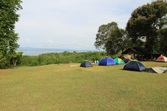 Colorful campsite tent at riverside. Colorful campsite tent at riverside, Thailand Royalty Free Stock Photography