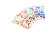 Colorful Canadian Dollar Bills in Various Denomination  4 Stock Image