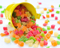 Colorful candied fruits in a small bucket Stock Photos