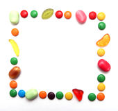 Colorful candies. Frame made of colorful candies Royalty Free Stock Photo