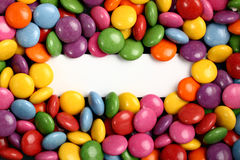 Colorful candies with blank white label Stock Photography
