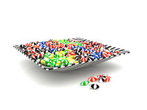 Colorful candies in a bowl. 3D colorful sweet candies in a swirl pattern bowl isolated on white background Stock Image