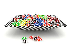 Colorful candies in a bowl. 3D colorful sweet candies in a swirl pattern bowl isolated on white background Stock Photos