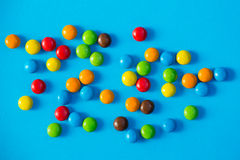 Colorful candies close up. On the yelow background Stock Images