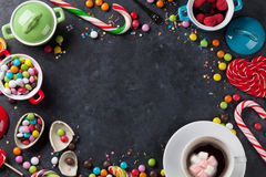 Colorful candies and coffee Stock Photo