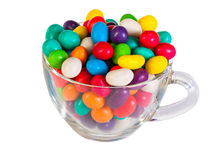 Colorful  candies in a glass isolated Royalty Free Stock Photos