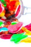 Colorful candies in a glass jar. Close uo Royalty Free Stock Images