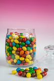 Colorful candies in glass jar Royalty Free Stock Image