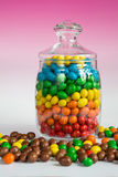 Colorful candies in glass jar Royalty Free Stock Photography