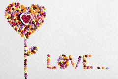 Colorful Candies Heart Flower Stock Images