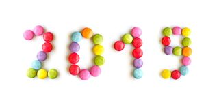 2019 colorful candies isolated on white. Background royalty free stock images