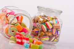 Colorful candies in the jar Stock Image