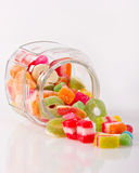 Colorful candies in the jar Stock Photos