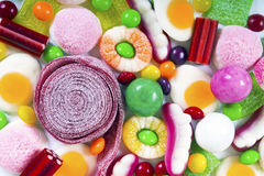 Colorful candies and jellies background Stock Photography