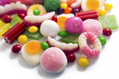 Colorful candies and jellies background Stock Photos
