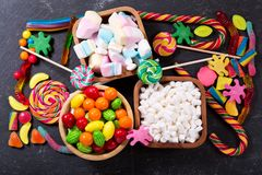 Colorful candies, jellies, lollipops, marshmallows  and marmalad Stock Images
