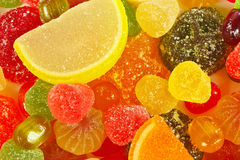 Colorful candies and jelly close up Royalty Free Stock Image