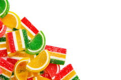 Colorful candies, jelly and marmalade. Isolated on white background with copy space Stock Images