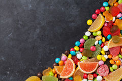 Colorful candies, jelly and marmalade Royalty Free Stock Images