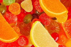 Colorful candies and jujube closeup Stock Images