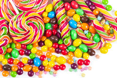 Colorful candies and lollipops. On a white background Stock Image