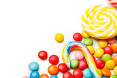 Colorful candies and lollipops  on white background Royalty Free Stock Photography