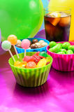 Colorful candies and soda Stock Photography