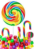 Colorful candies and sweets isolated. On white background Stock Photos