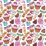 Colorful candies and sweets seamless pattern in retro doodle style, sweet background. Colorful candies and sweets seamless pattern, hand drawn doodle sketch
