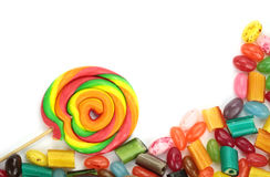 Colorful candies on white background Stock Photography