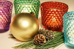 Colorful candle glases. New year decoration stock photography