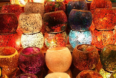 Colorful Candle Holders Stock Photos