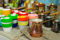 Colorful candle holders and fondue objects Royalty Free Stock Photos