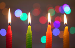 Colorful candles on dark background Royalty Free Stock Photo
