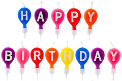 Colorful candles happy birthday Stock Images
