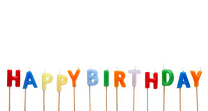 Colorful Happy Birthday Cake Candles Stock Photography
