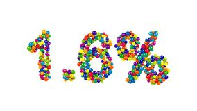Colorful candy arranged in shape of 1.6 percent Royalty Free Stock Photos