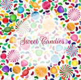 Colorful candy background with jelly beans, and jelly candies royalty free illustration