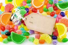 Colorful Candy Background with Tag Stock Image