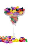 Colorful candy beans in a margarita glass Royalty Free Stock Photos